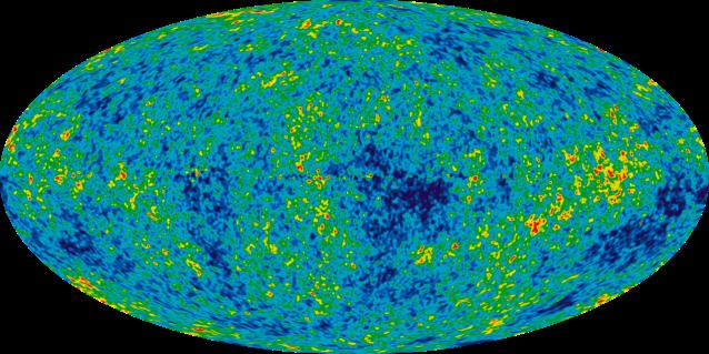 Mapa cósmico de los fotones de la recombinación detectados.